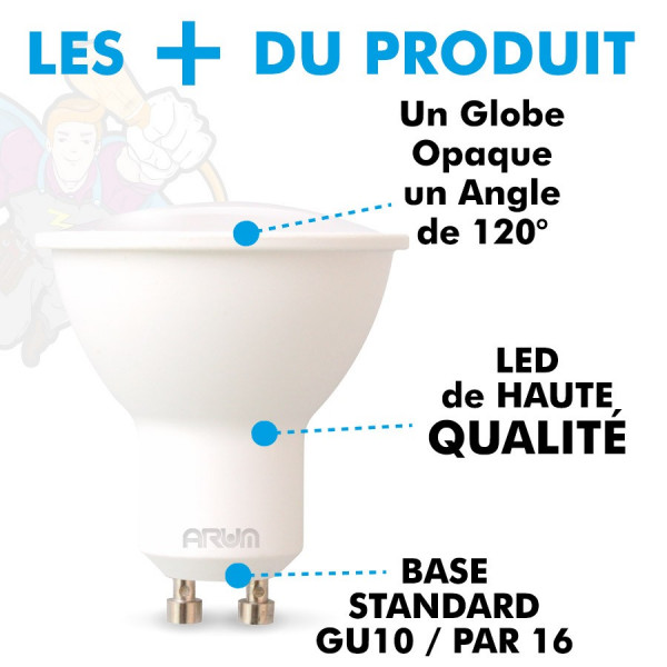 Spot LED GU10 5W eq 40W 120° Blanc naturel