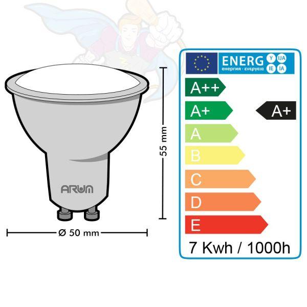 Spot LED GU10 7W eq 60W 120° Blanc chaud