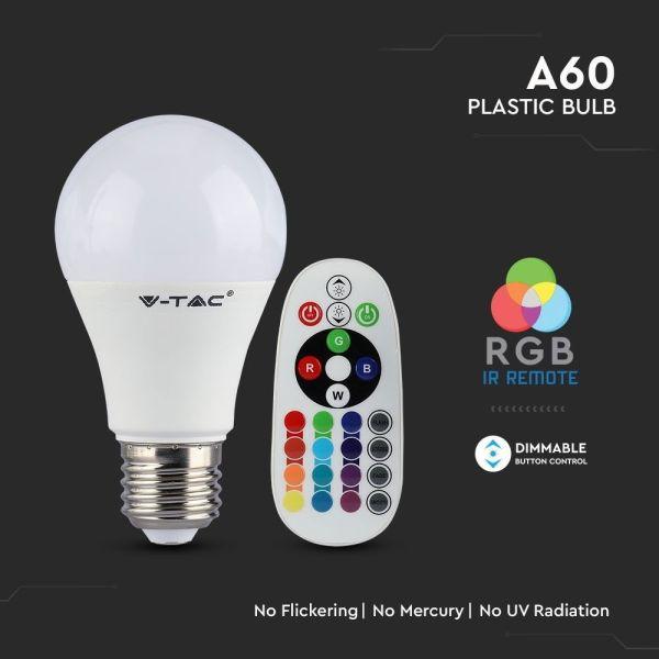 Ampoule LED 6W E27 RGB + Blanc chaud avec télécommande