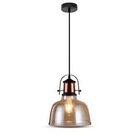 Suspension Verre Ambrée pour Ampoule E27