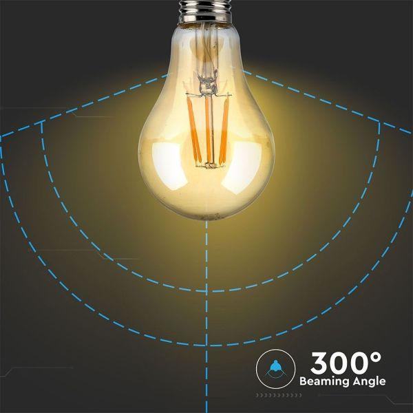 Ampoule LED E27 10W FILAMENT Verre ambrée