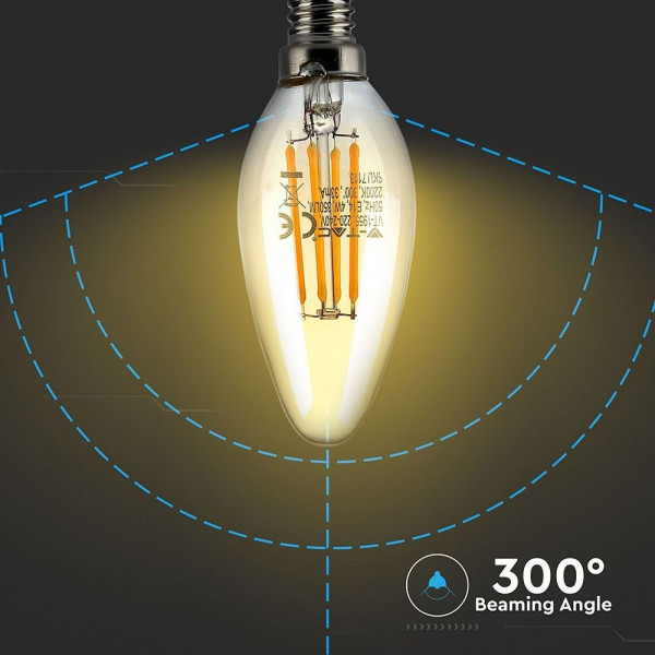 AMPOULE  LED FILAMENT VERRE AMBRE 4 W