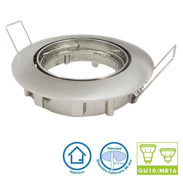 Support pour spot orientable acier brossé