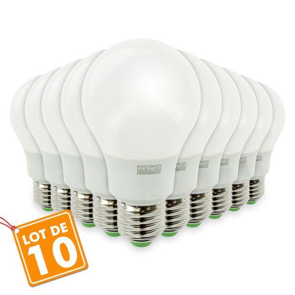 Lot de 10 Ampoules LED E27 9W eq 60W 806m Blanc froid