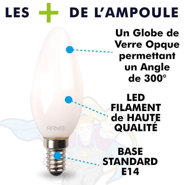 Lot de 3 Ampoules LED COG C35 4,5W Filament Milky