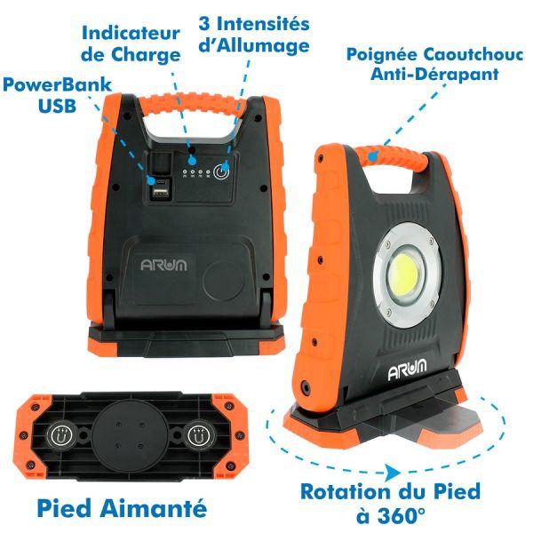 Projecteur LED 30W rechargeable pour chantier BARAKUDA