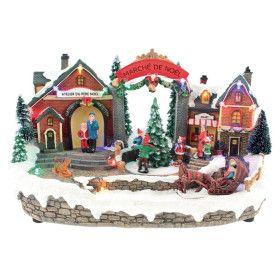Scenette Marché Noël lumineux animés a piles