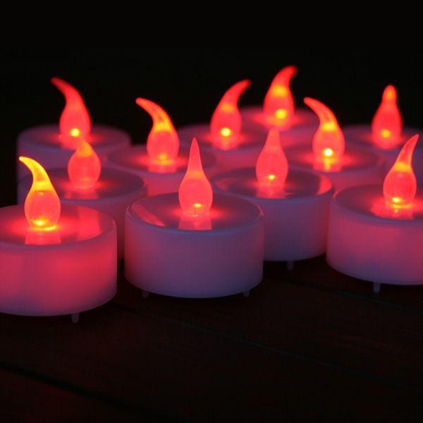 24 Bougies à Led Rouge Effet Flamme