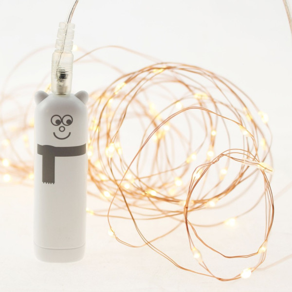 Guirlande 100 MicroLED Blanc Chaud Rechargeable