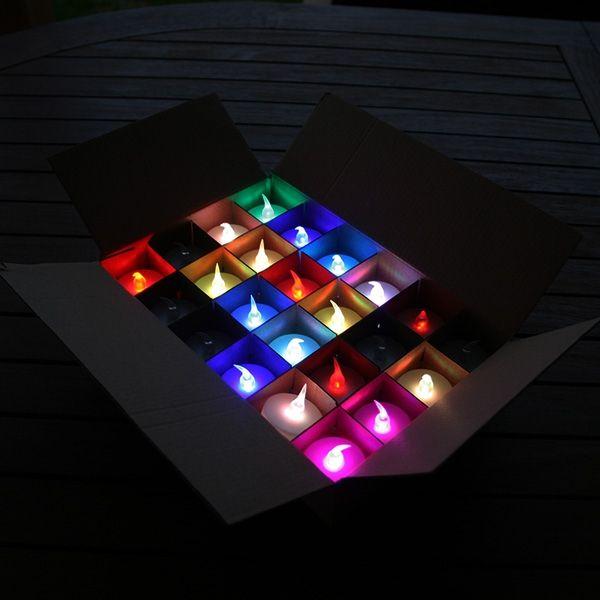24 candele led effetto fiamma multicolore