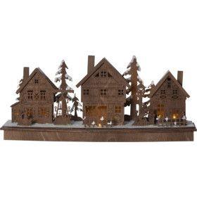 Décoration de table ou a poser Village lumineux en bois foncé