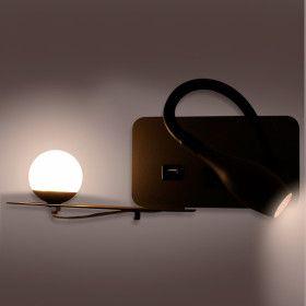 Applique Liseuse LED ZIA DarkGrey 8W Blanc Chaud + Charge USB Droite