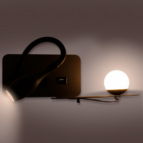 Applique Liseuse LED ZIA DarkGrey 8W Blanc Chaud + Charge USB Gauche