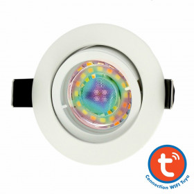 Spot encastrable Blanc avec GU10 5W RGB Connectée Tuya