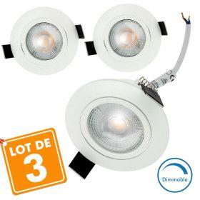 3 Spots Encastrables LED Orientable 5W Dimmable Eq. 40W