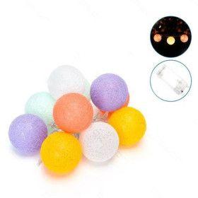 Guirlande lumineuse 10 boules de Coton Panaché sur piles