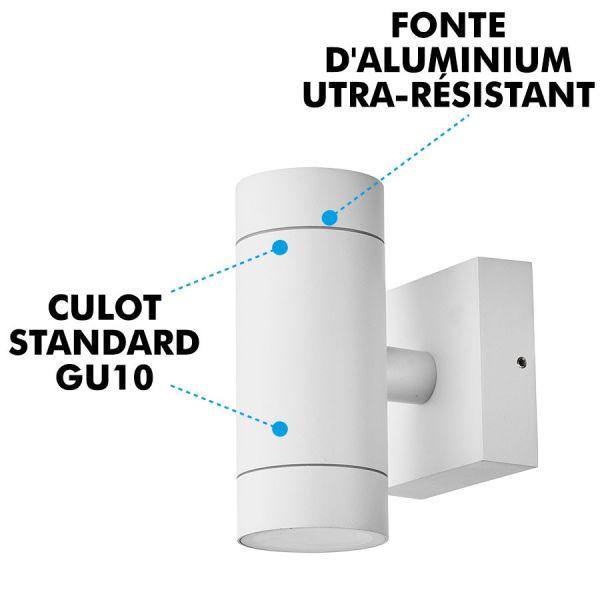 Applique Blanche VENICE Extérieure double faisceau GU10