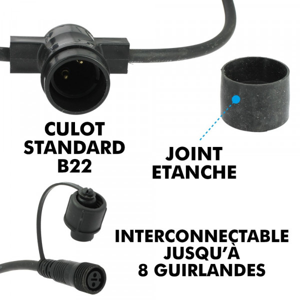 Guirlande Guinguette 10 Ampoules LED B22 1W Mutlicolors 10 mètres Interconnectable