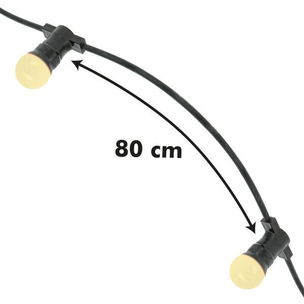 Guirlande Guinguette 10 Ampoules LED B22 1W Blanc Chaud 10 mètres Interconnectable