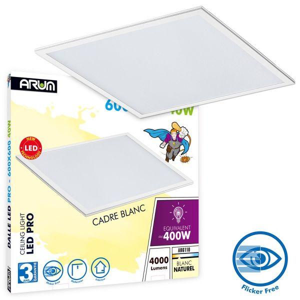 Dalle LED Pro 40W - 5ans 595x595cm blanc naturel