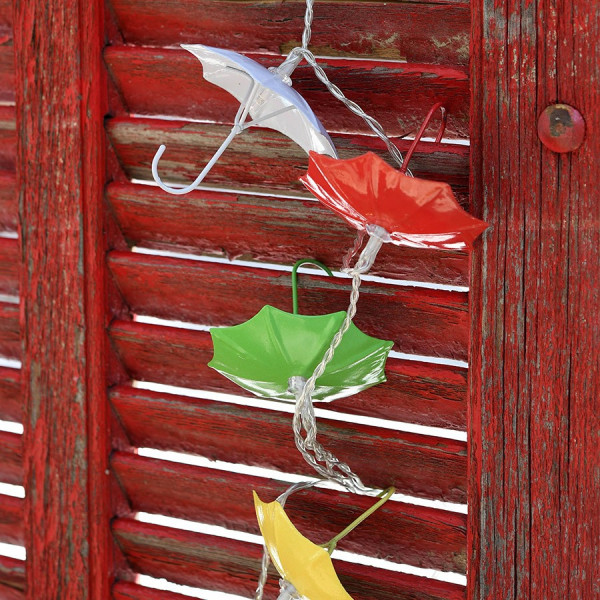 Guirlande solaire 10 décorations Parapluie Blanc Chaud