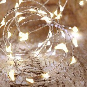 Guirlande solaire micro LED 15m Blanc Chaud