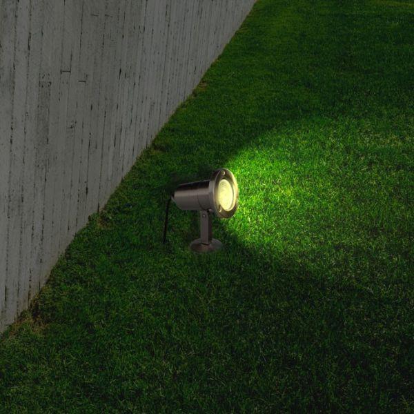 Spot LED inox sur piquet GU10 5W 3000K 350 Lumens