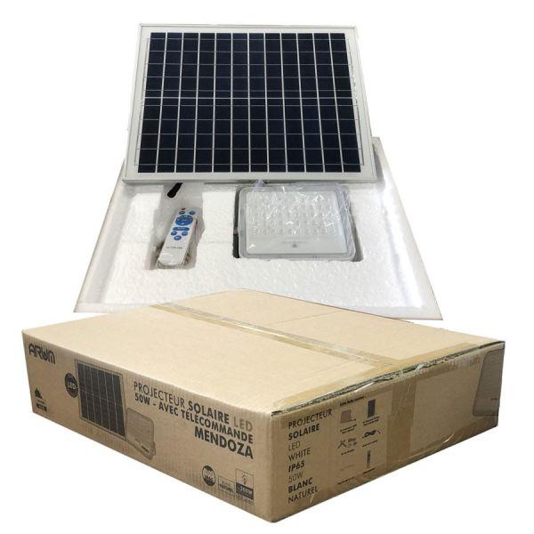 Projecteur Solaire 20W avec son Panneau Solaire et Télécommande