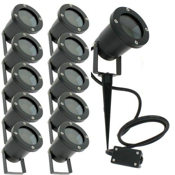 Lot de 10 Spots Extérieurs à Piquer pour LED GU10 Éclairage de Jardin