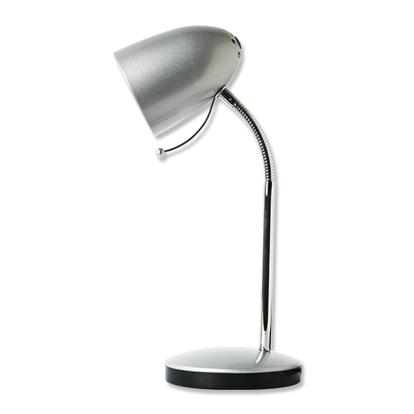 Lámpara de escritorio plateada