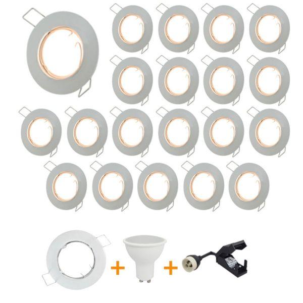 Lot de 20 Spot encastrable fixe complet blanc avec GU10 LED de 5W eq 40W