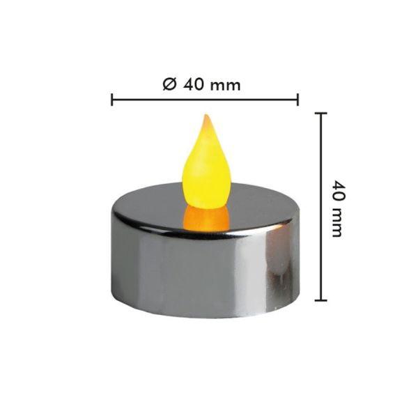 2 candele LED cromate