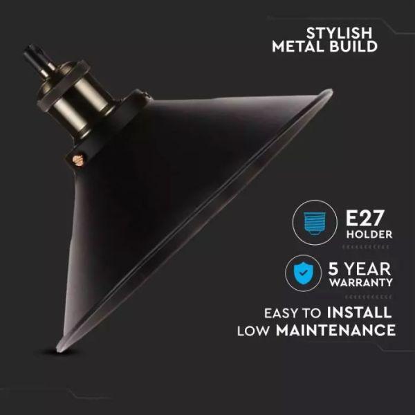 Lampada a sospensione in metallo nero in stile industriale