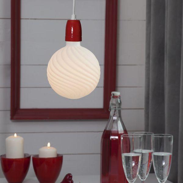 Suspension E27 vintage porcelaine avec prise GLAZE Rouge