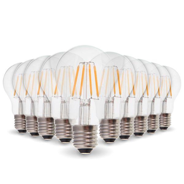 Lote de 10 bombillas LED E27 4W filamento eq. 40W blanco cálido 2700K