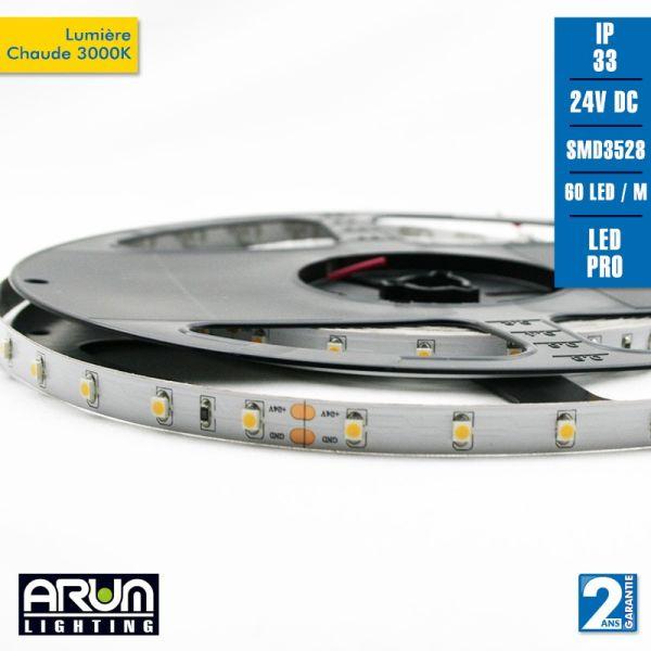 Rotolo da 5m PRO 24V 3528 60LED / M 3000K IP20