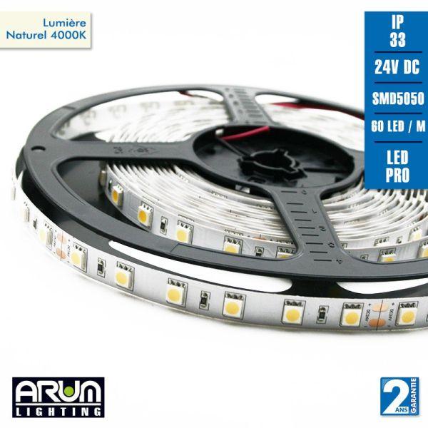 Rouleau de 5m PRO 24V 5050 60LED/M IP20 4000K