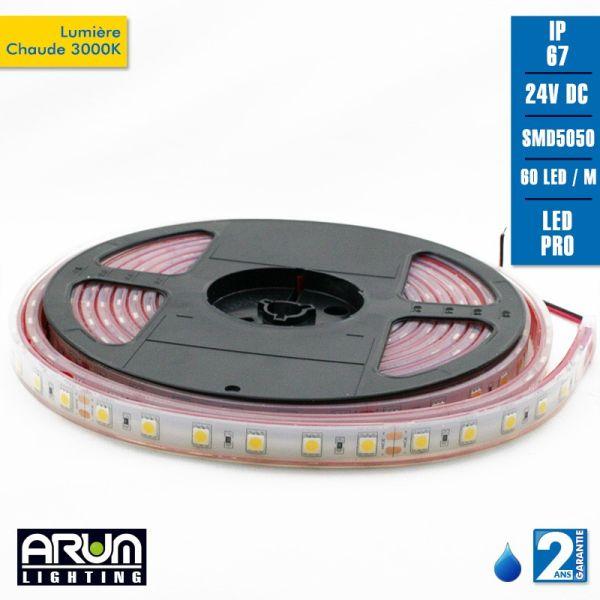 Rouleau de 5m PRO 24V 5050 3000K IP67
