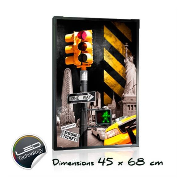 Tableau lumineux Taxi feu New york 45 x 68 cm