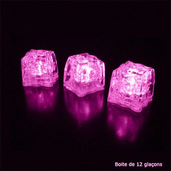 12 cubos de hielo iluminados con LED rosa