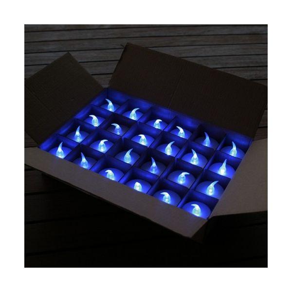 24 Bougies à Led Bleu Effet Flamme