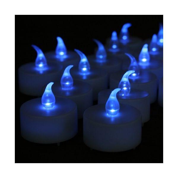 24 candele a led blu con effetto fiamma