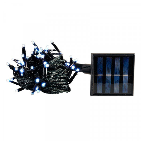Guirlande solaire 100 LEDS blanc froid
