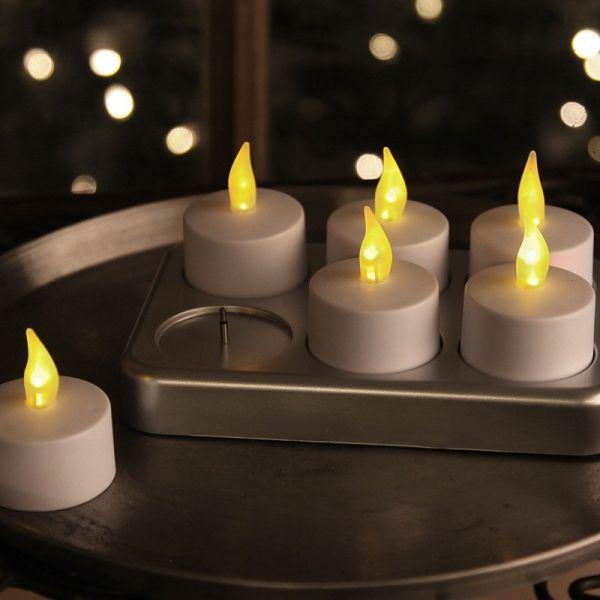 Set di 6 candele LED ricaricabili e relativa stazione di ricarica