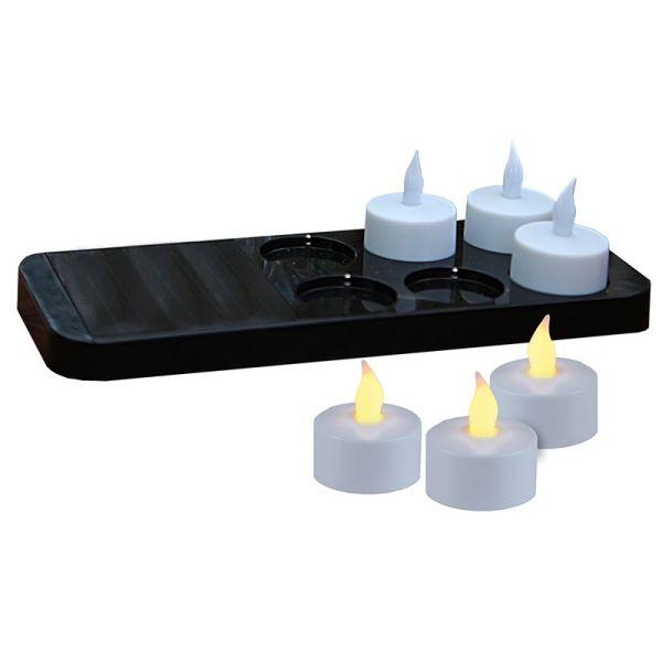 6 velas y cargador solar