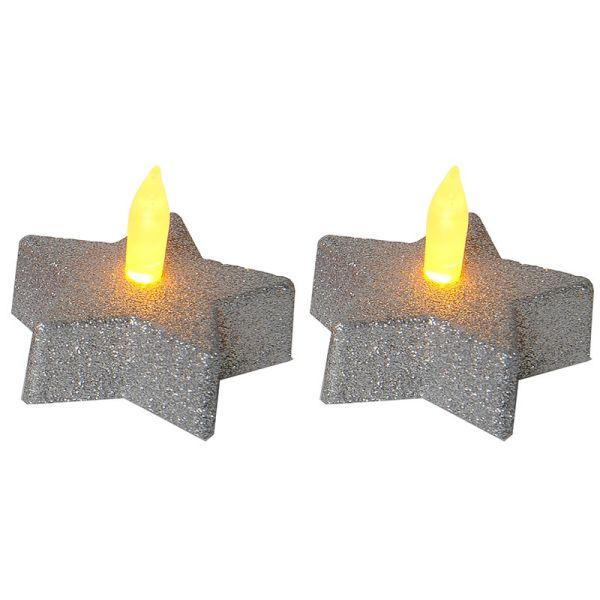 Lot de 2 bougies étoiles argentée