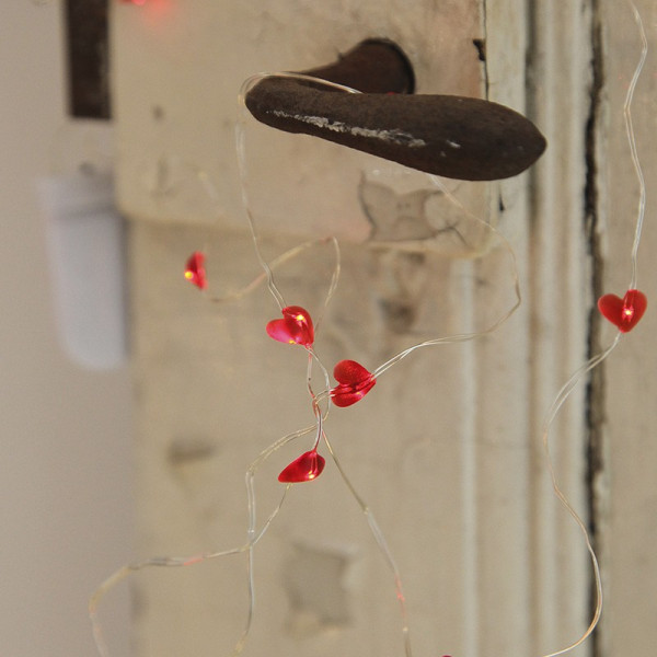 Guirlande sur piles micro LED coeur