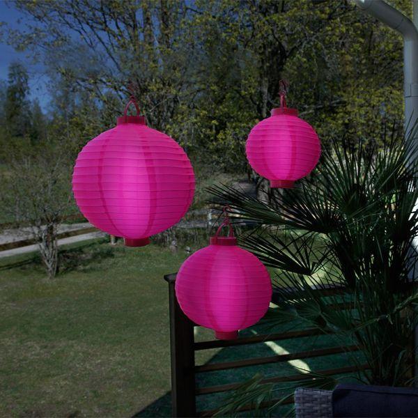 3 Lampions lumineux rose sur piles