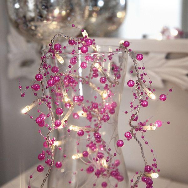 Guirlane perle rose sur piles
