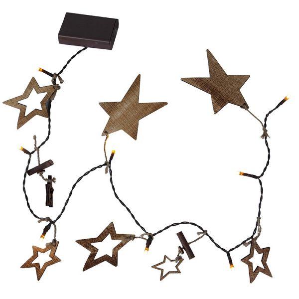 Guirlande étoile bois sur piles